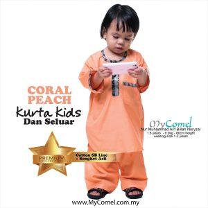 Kurta Kids & Seluar (Coral Peach)