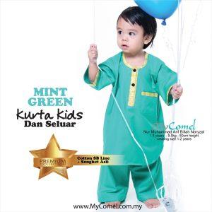 Kurta Kids & Seluar (Mint Green)