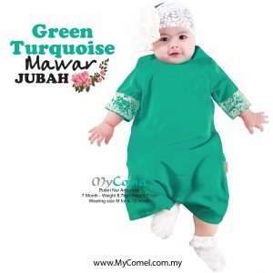 Jubah Baby Mawar – Green Turquoise