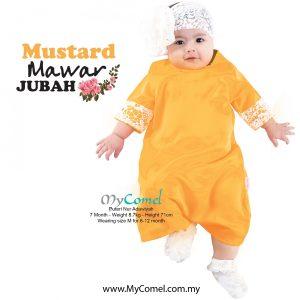Jubah Baby Mawar – Mustard