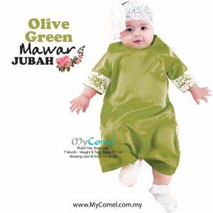 Jubah Baby Mawar – Olive Green