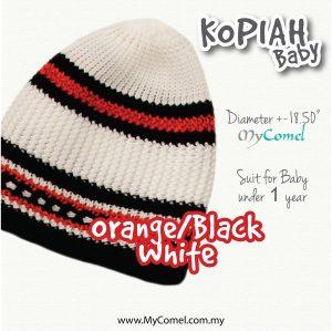 Kopiah Baby (Orange/Black/White) – Suit for Baby under 1 year