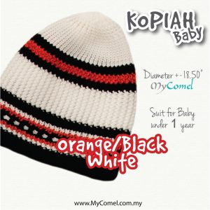 Kopiah Baby (Orange/Black/White) – Suit for Baby under 1 year