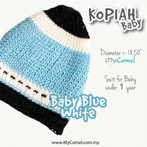 Kopiah Baby (BabyBlue White) – Suit for Baby under 1 year