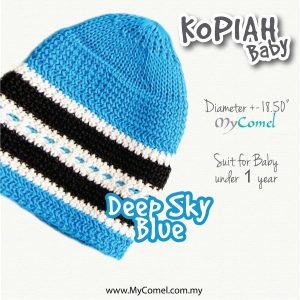 Kopiah Baby (Deep Sky Blue) – Suit for Baby under 1 year