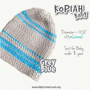 Kopiah Baby (Grey Blue) – Suit for Baby under 1 year