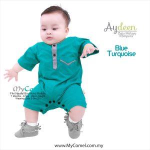 Baju Melayu Rompers – Blue Turquoise