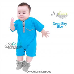 Baju Melayu Rompers – Deep Sky Blue