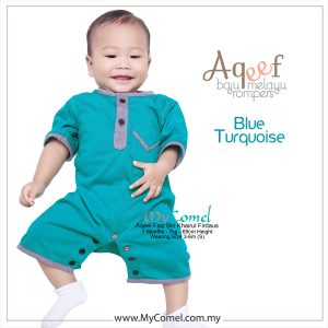 Blue Turquoise – Baju Melayu Rompers AQEEF