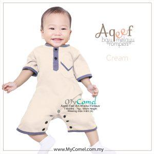 Cream – Baju Melayu Rompers AQEEF