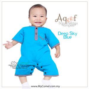 Deep Sky Blue – Baju Melayu Rompers AQEEF
