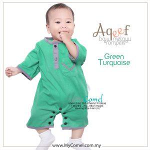 Green Turquoise – Baju Melayu Rompers AQEEF