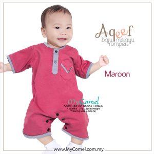 Maroon – Baju Melayu Rompers AQEEF