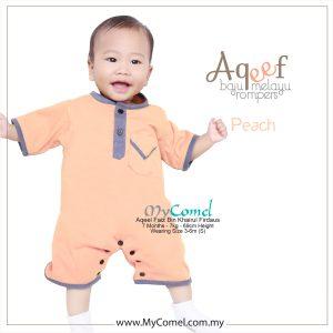 Peach – Baju Melayu Rompers AQEEF