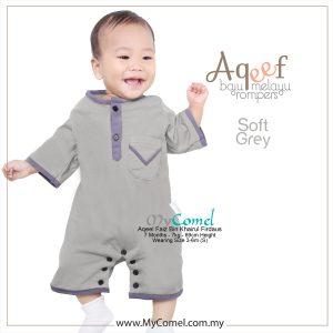 Soft Grey – Baju Melayu Rompers AQEEF