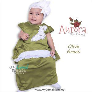 Mini Kurung Aurora – Olive Green