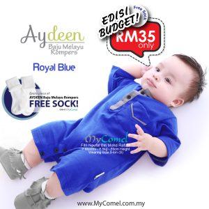 Baju Melayu Rompers- Royal Blue-01