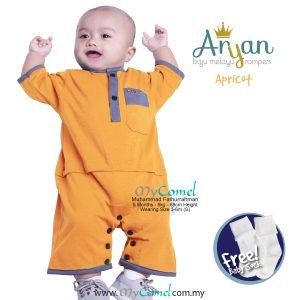 ARYAN Baju Melayu Rompers – Apricot-01