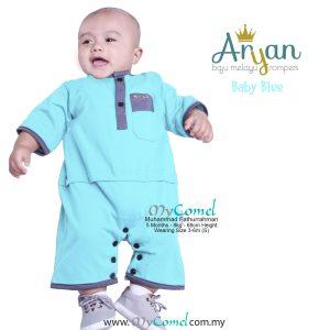 ARYAN Baju Melayu Rompers – Baby Blue-01