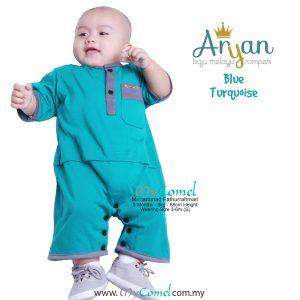 ARYAN Baju Melayu Rompers – Blue Turquoise-01