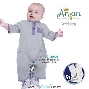ARYAN Baju Melayu Rompers – Soft Grey-01