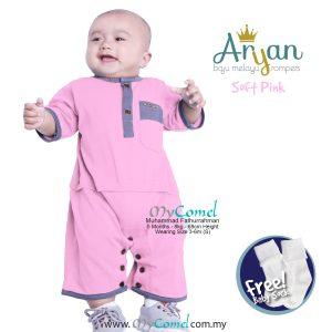 ARYAN Baju Melayu Rompers – Soft Pink-01