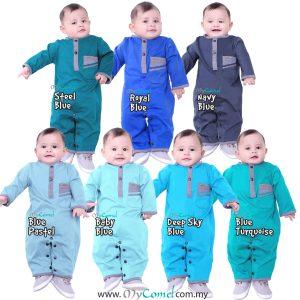 COMBINE Baju Melayu Rompers – Blue