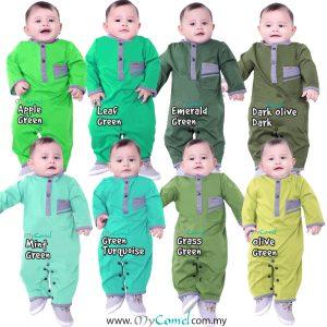 COMBINE Baju Melayu Rompers – Green
